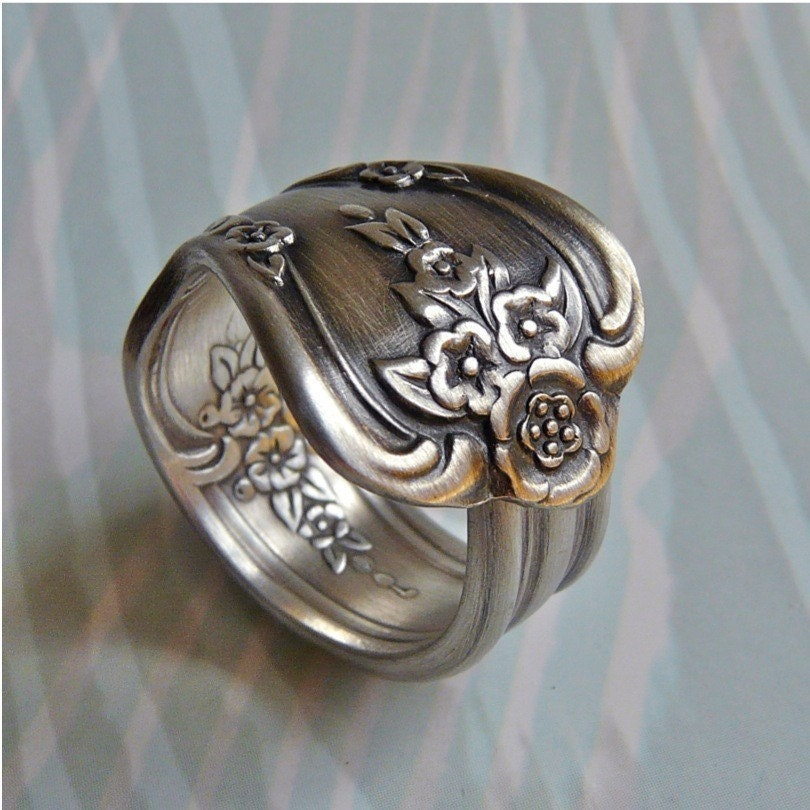 spoon ring antique silver pattern magnolia by revisions