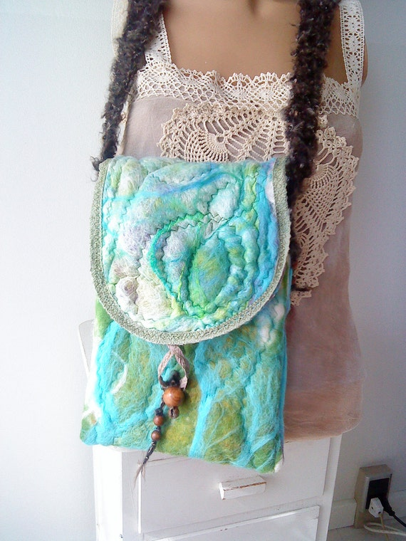 Unique Abstract Silk Felted Fairy Shoulder Bag