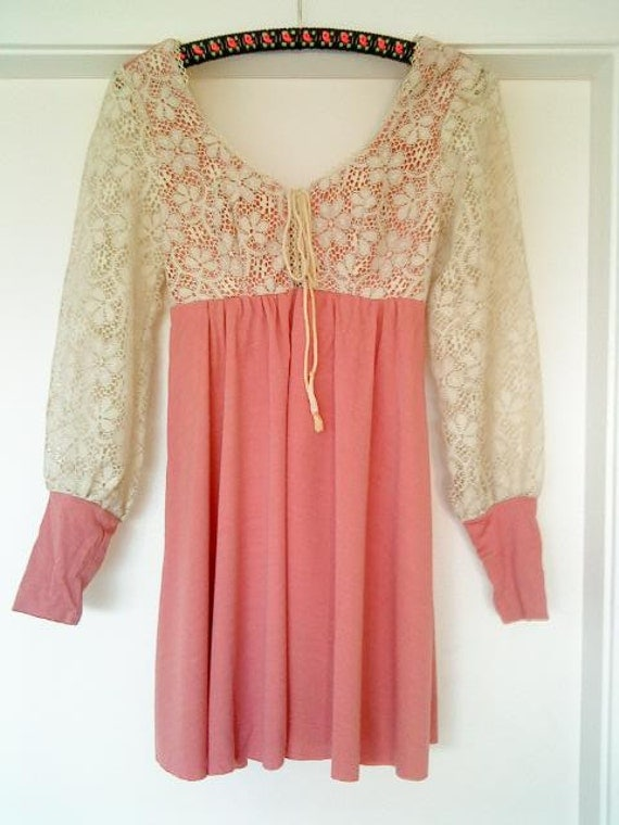 Vintage 60s Fairy Babydoll Pink and Lace Mini Dress