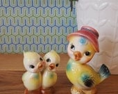 Mamma and Baby Bird Vintage Salt and Pepper Shakers
