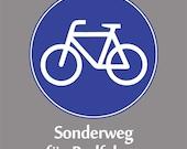 German Biking Shirt - Bike Sign - Sonderweg fuer Radfahrer - Blue/White on Charcoal