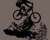 Mountain Biking - Bicycle - Bike - Riding - T-shirt Water Based Ink - S M L XL - Charcoal Grey