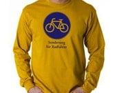 German Biking Long Sleeve T Shirt - Bike Sign - Sonderweg fuer Radfahrer - S or M - Gold