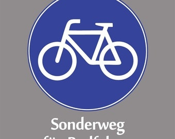German Biking Shirt - Bike Sign - Sonderweg fuer Radfahrer - Blue/White on Charcoal