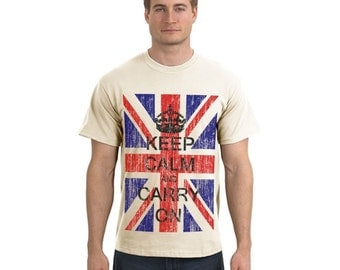 Keep Calm And Carry On - British Flag T Shirt - Union Jack - S  M L XL XXL
