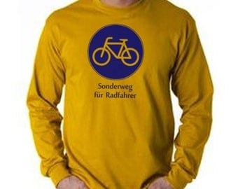 German Biking Long Sleeve T Shirt - Bike Sign - Sonderweg fuer Radfahrer - S or M - Gold