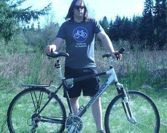 German Biking Shirt - Bike Sign - Sonderweg fuer Radfahrer -  Blue/White on Grey - American Apparel