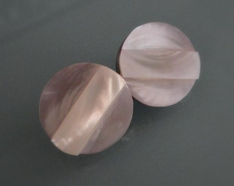 Round Mother of Pearl Pierced Earrings.