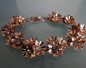 Coro Flowers and Rhinestones Metal Bracelet
