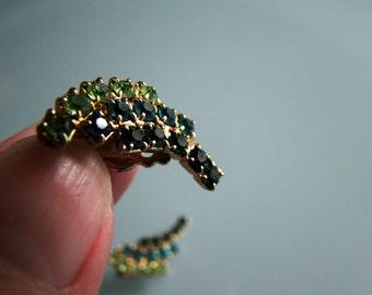 Green Rhinestone Earrings