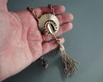Vintage Necklace, Chain Tassel Pendant Necklace