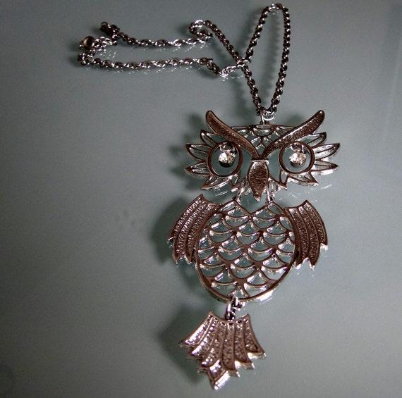Vintage Necklace, Vintage Owl, Articulated Owl Necklace, Vintage Necklaces