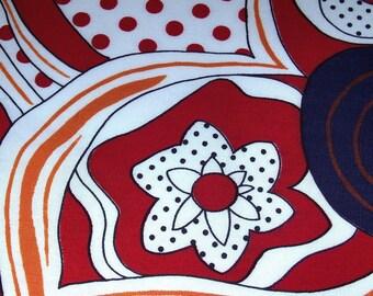 Retro Flower - Vintage Fabric - Cotton Blend - Large Print
