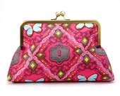 SALE- Ready to Ship- Princess Pink Clutch with turquoise butterflies