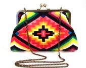 Tribal Purse- Aztec- Native Clutch- Pink Sedona Medicine Woman Clutch with Detachable Purse Chain