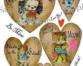 Valentine vintage Hearts Collage Sheet - PDF altered scrapbooking kitty cat queen digital dog tag uprint primitive paper old