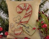 Christmas MOUSE embroidery PDF Pattern - stitchery primitive pillow candy cane pinkeep tag pin cushion tuck