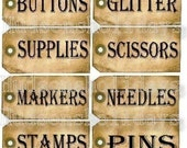 new 12 Sewing Room Studio Supplies Tags - label Uprint thread Digital Sheet storage button paper vintage glitter pens scissor stamps organize