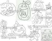 PDF Halloween Designs PATTERN PACK - digital offering witch primitive pumpkin black cat stitchery witch owl bat