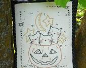 3 Cats Halloween pumpkin embroidery pattern PDF - sheet primitive pillow stitchery hand spider moon stars