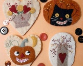 Autumn Wool PINS PDF PATTERN - Halloween embroidery