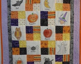 Halloween Sampler embroidery Quilt Pattern PDF - wallhanging pumpkin paint