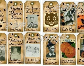 Old vintage LABELS and TAGS Collage Sheets - halloween vintage photos pumpkin email uprint digital crow medicine bottles witch