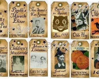Old vintage LABELS and TAGS Collage Sheets - set of 12 halloween pumpkin uprint digital crow medicine bottles witch