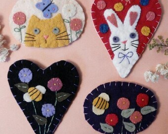 Spring Wool Pins PDF Pattern -  rabbit cat bee flowers felt magnet