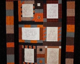Halloween Orange Quilt Big PDF embroidery Pattern - work Stitchery cat pumpkin vintage like witch crow