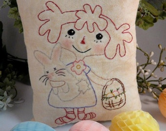 Easter raggedy ann embroidery bunny Pattern PDF - doll stitchery spring pillow tuck heart felt wool pin cushion spring decor primitive