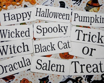 12 Large Halloween Flash Cards PDF -  altered art pumpkin cat primitive