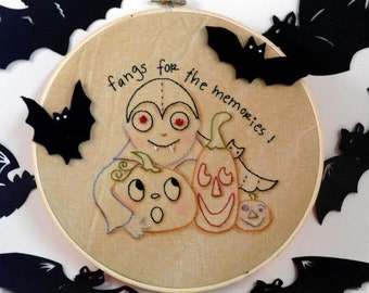 Halloween vampire dracula embroidery Pattern - PDF fangs for the memories primitive