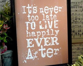 Happily ever after sign digital PDF - inspiration art words vintage style wedding primitive paper