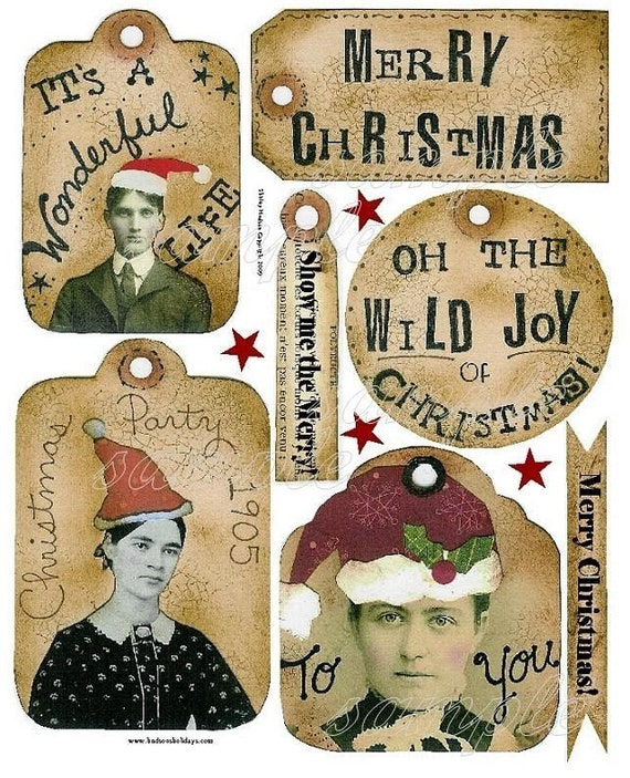 Old time CHRISTMAS Tags Collage art Sheet PDF -  SAnta old photos party label banner digital