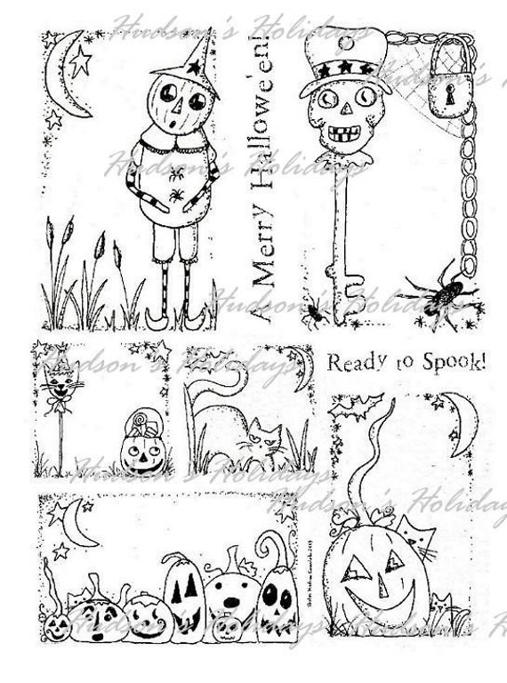 old HALLOWEEN ART labels - PDFartwork black white Paper Sheet  Pumpkin cat skull collage sayings scrapbooking primitive tag digital