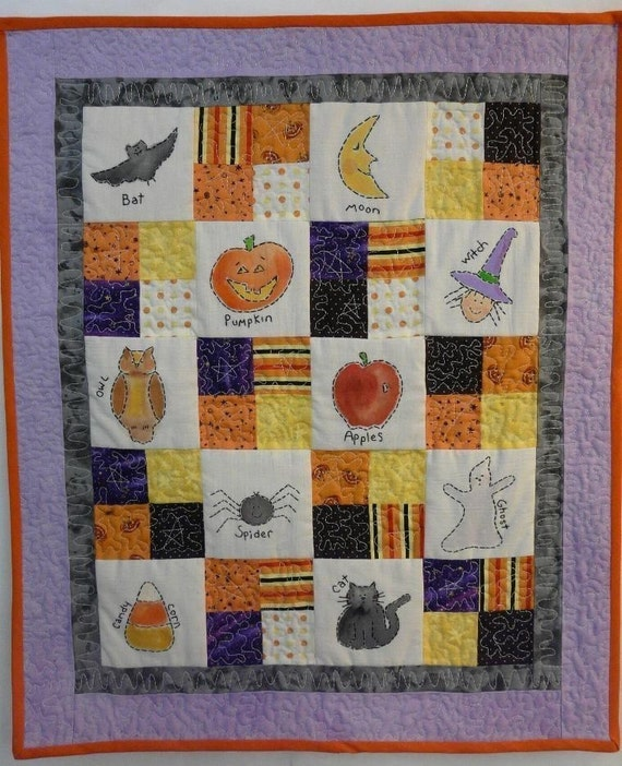 Halloween Sampler embroidery Quilt PDF Pattern- stitchery primitive wallhanging witch ghost candy corn spider pumpkin embroidery paint