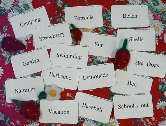 Summer Time FLASH CARDS - PDF u print vintage like 16 altered scrapbooking baseball beach camping vacation garden digital primitive paper