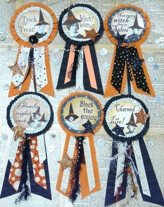 HALLOWEEN WITCH Art Badges pins PATTERN - Pdf ribbon primitive witchy party