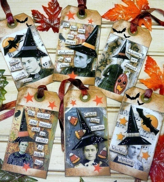 Old Witch Halloween Tags - Collage Sheet PDF Email U Print art vintage saying photos sayings Altered atc aceo scrapbooking primitive