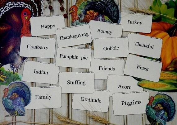 new THANKSGIVING FLASH CARDS vintage like 16 altered scrapbooking digital uprint primitive paper old turkey pumpkin pie gratitude family