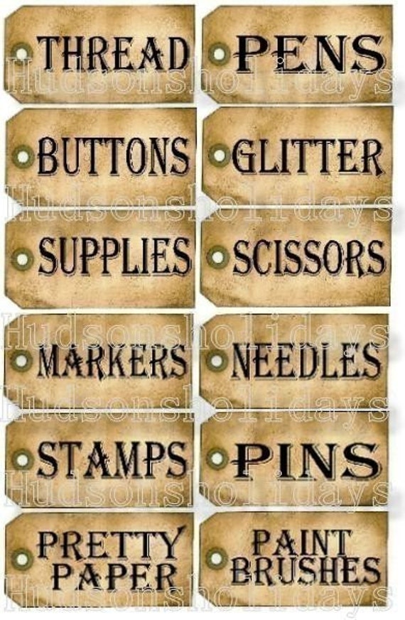 new 12 Sewing Room Studio Supplie Tags - label uprint thread Digital Sheet storage button paper vintage glitter pens scissor stamps organize