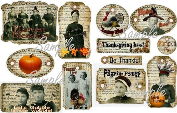 An new OLD set Thanksgiving Pilgrim Turkey Tags Collage art Sheets old photos