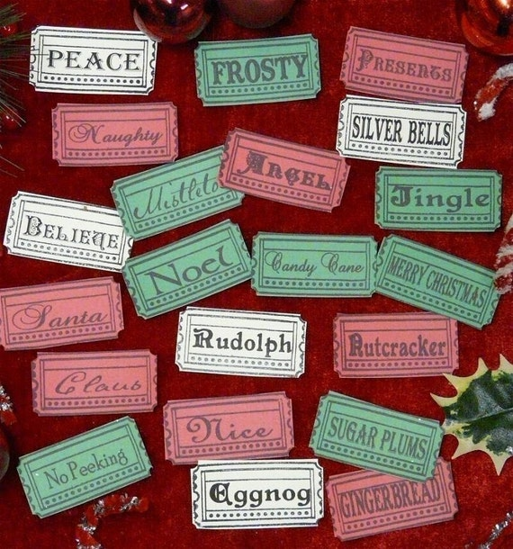 21 Christmas Tickets Uprint Digital Sheet -  tags label new scrapbooking primitive paper gingerbread man believe santa candy cane