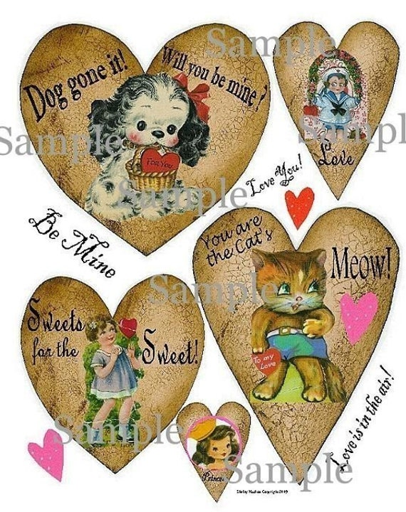Valentine vintage Hearts Collage Sheet altered scrapbooking kitty cat queen pdf digital dog tag uprint primitive paper old