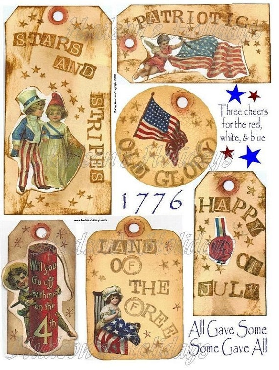 Patriotic Tags & Sayings collage sheet PDF - altered scrapbooking Labels flag primitive digital uprint primitive paper old photos