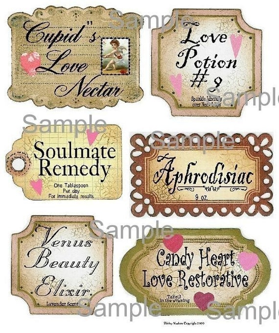 Valentine Label Collage Sheet - altered scrapbooking bottle digital Cupid  Tag uprint primitive paper vintage heart