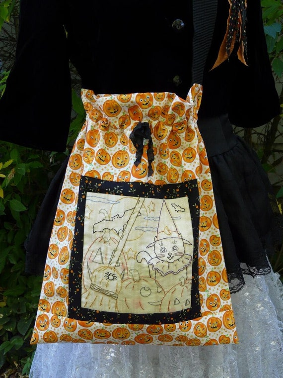 Halloween Trick Or Treat Bag embroidery Pattern PDF - satchel witch Black Cat