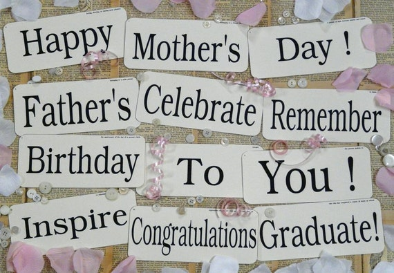 12 Large Birthday Mothers Day Flash Cards PDF - inspire celebrate mom dad graduate banner vintage like antique signs words