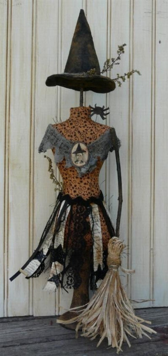 Halloween Witch Mannequin Dress Form PDF Pattern -  Pincushion Pin Keep email primitive pinkeep cushion